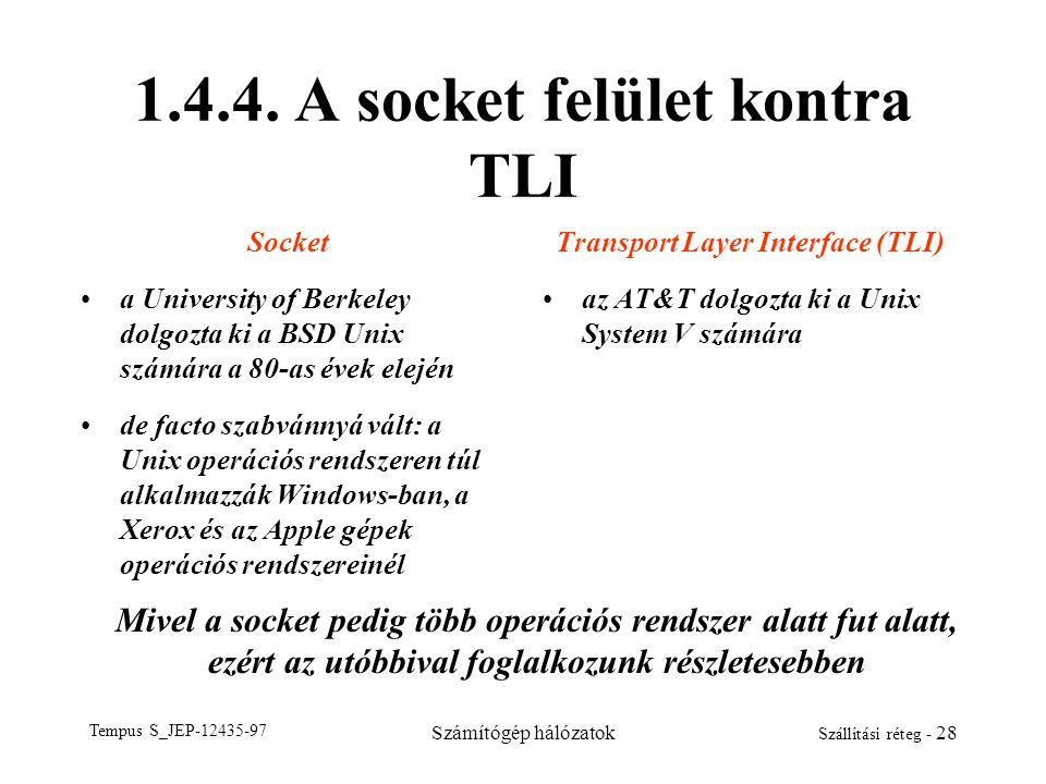 1.4.4. A socket felület kontra TLI