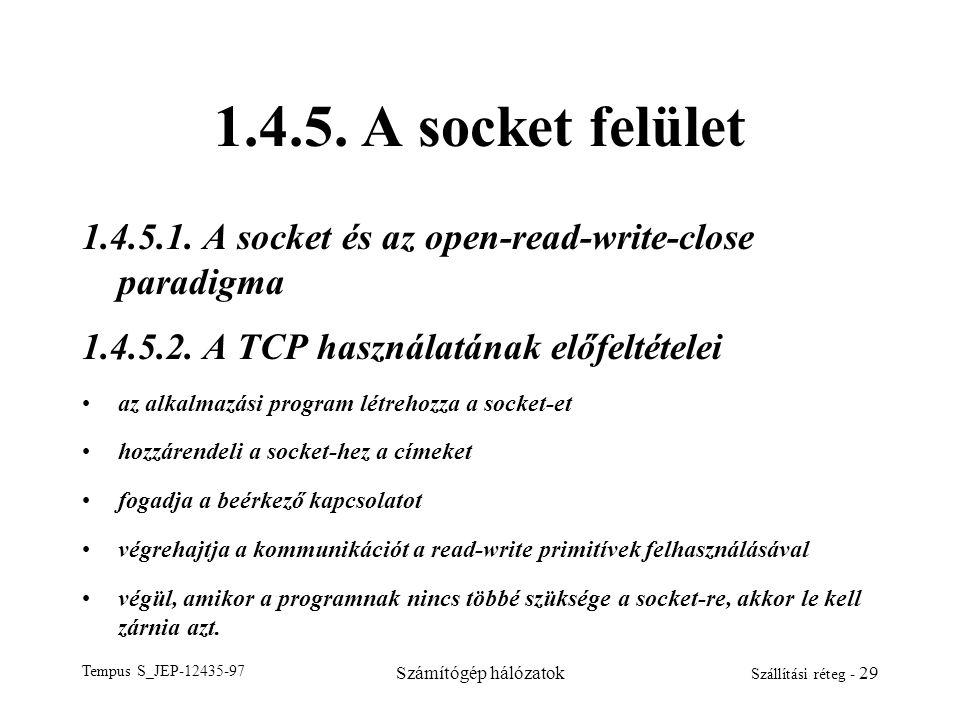 1.4.5. A socket felület 1.4.5.1. A socket és az open-read-write-close paradigma. 1.4.5.2. A TCP használatának előfeltételei.