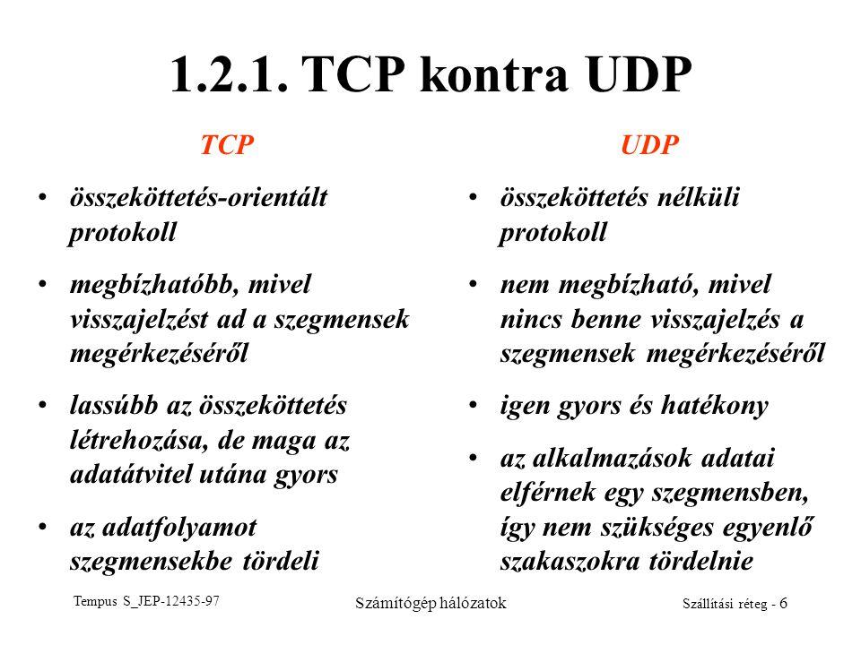 1.2.1. TCP kontra UDP TCP összeköttetés-orientált protokoll