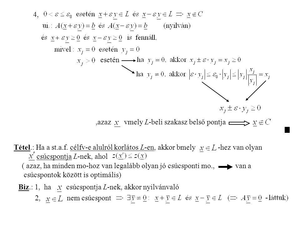 4, esetén. ,azaz vmely L-beli szakasz belső pontja. Tétel.: Ha a st.a.f. célfv-e alulról korlátos L-en, akkor bmely -hez van olyan.
