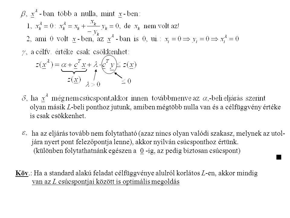 olyan másik L-beli ponthoz jutunk, amiben mégtöbb nulla van és a célfüggvény értéke