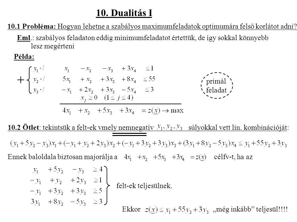 10. Dualitás I 10.1 Probléma: Hogyan lehetne a szabályos maximumfeladatok optimumára felső korlátot adni
