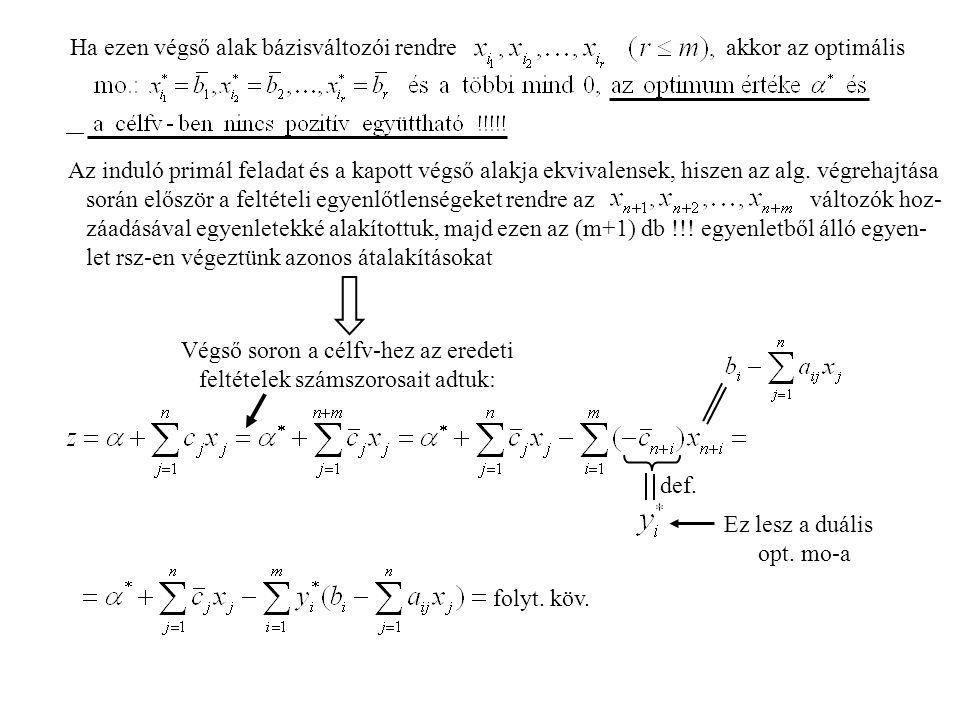 Végső soron a célfv-hez az eredeti feltételek számszorosait adtuk: