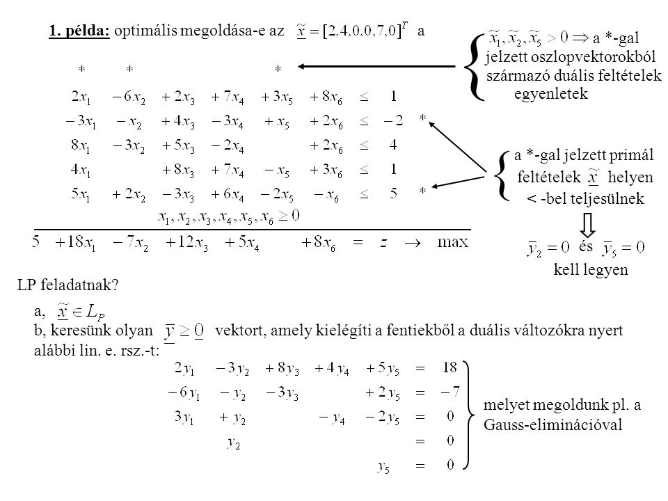 { { 1. példa: optimális megoldása-e az a a *-gal