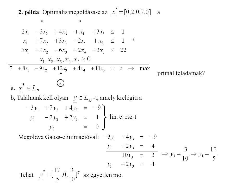 2. példa: Optimális megoldása-e az a