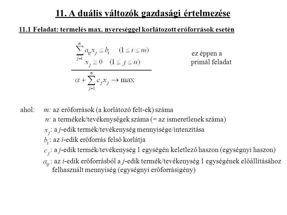 11. A duális változók gazdasági értelmezése