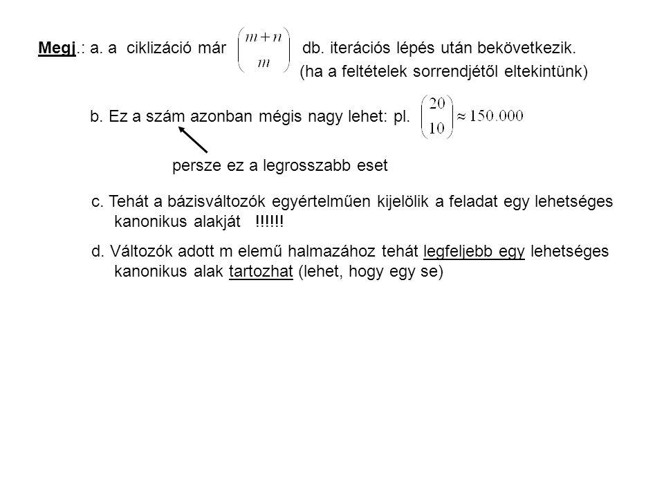 Megj.: a. a ciklizáció már