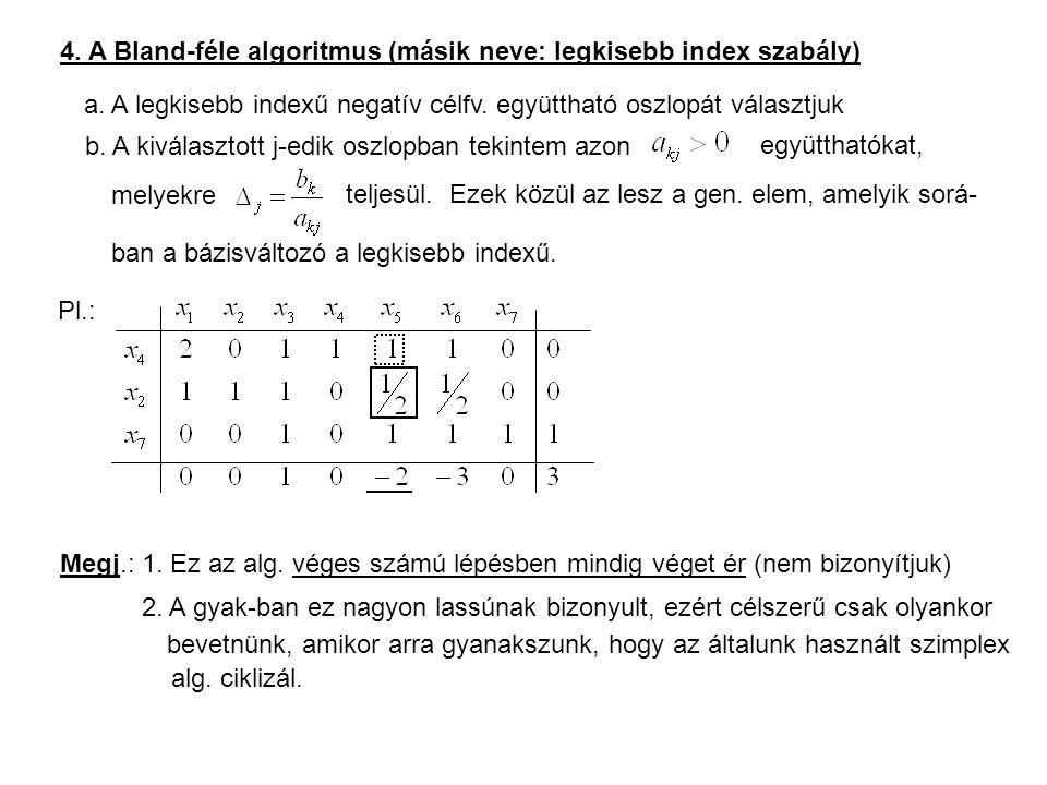 4. A Bland-féle algoritmus (másik neve: legkisebb index szabály)