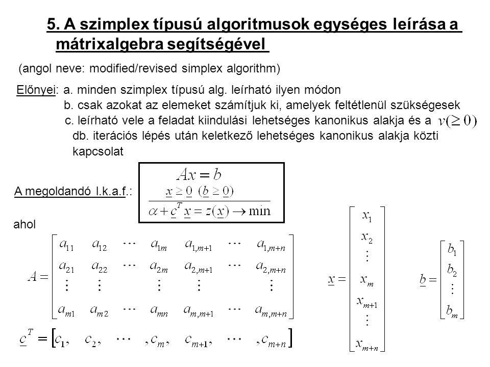 5. A szimplex típusú algoritmusok egységes leírása a