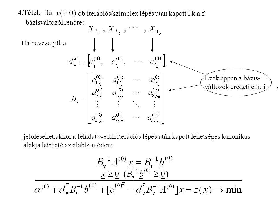 4.Tétel: Ha db iterációs/szimplex lépés után kapott l.k.a.f. bázisváltozói rendre: Ha bevezetjük a.