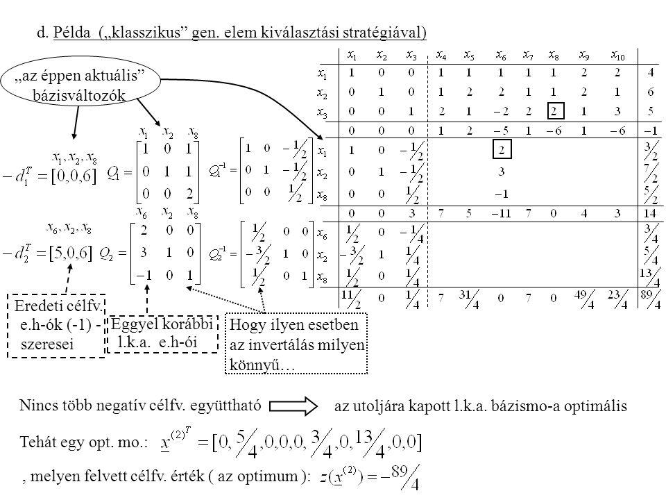 """d. Példa (""""klasszikus gen. elem kiválasztási stratégiával)"""