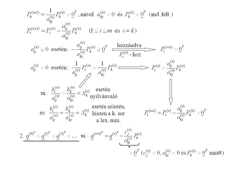 hozzáadva esetén nyilvánvaló esetén szintén, hiszen a k. sor a lex. min.