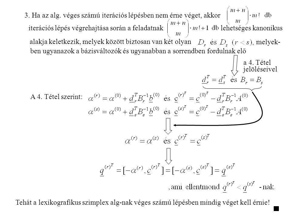 3. Ha az alg. véges számú iterációs lépésben nem érne véget, akkor