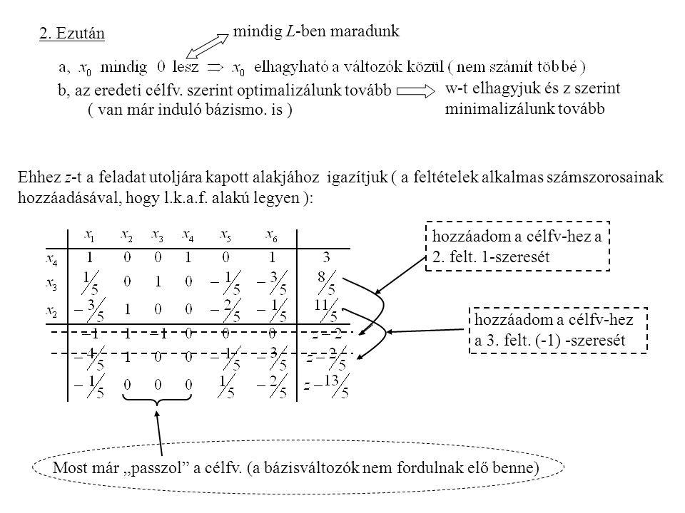 2. Ezután mindig L-ben maradunk. b, az eredeti célfv. szerint optimalizálunk tovább. w-t elhagyjuk és z szerint minimalizálunk tovább.