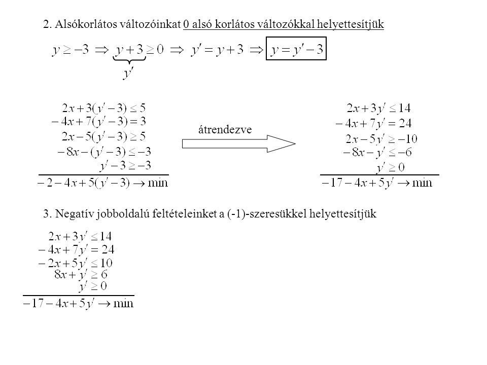 2. Alsókorlátos változóinkat 0 alsó korlátos változókkal helyettesítjük