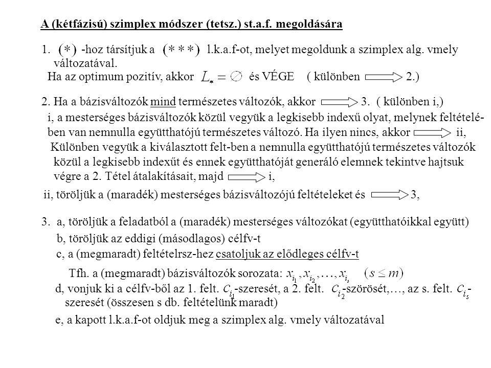 A (kétfázisú) szimplex módszer (tetsz.) st.a.f. megoldására