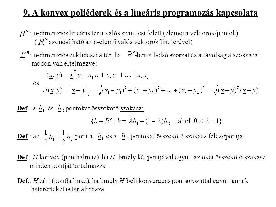 9. A konvex poliéderek és a lineáris programozás kapcsolata