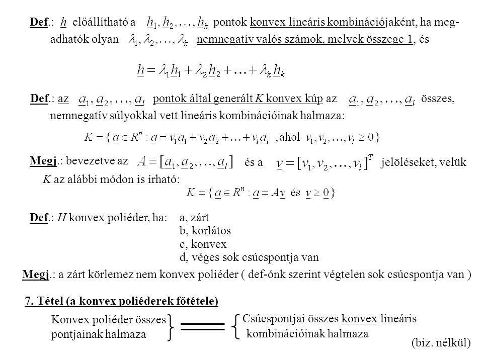Def.: h előállítható a pontok konvex lineáris kombinációjaként, ha meg-