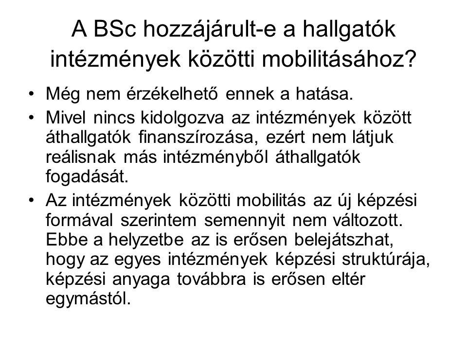 A BSc hozzájárult-e a hallgatók intézmények közötti mobilitásához