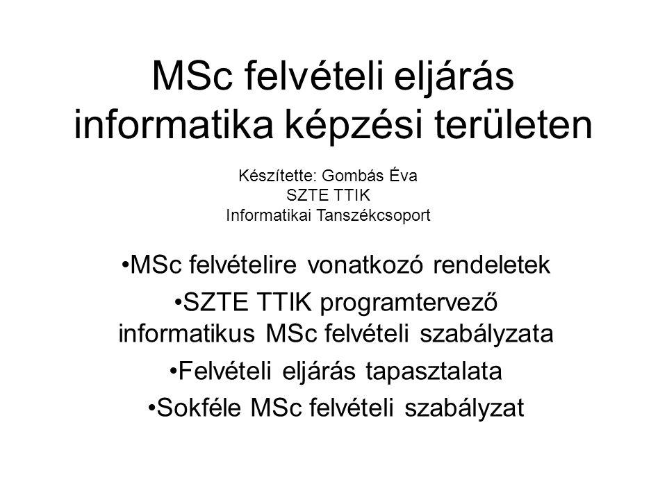 MSc felvételi eljárás informatika képzési területen