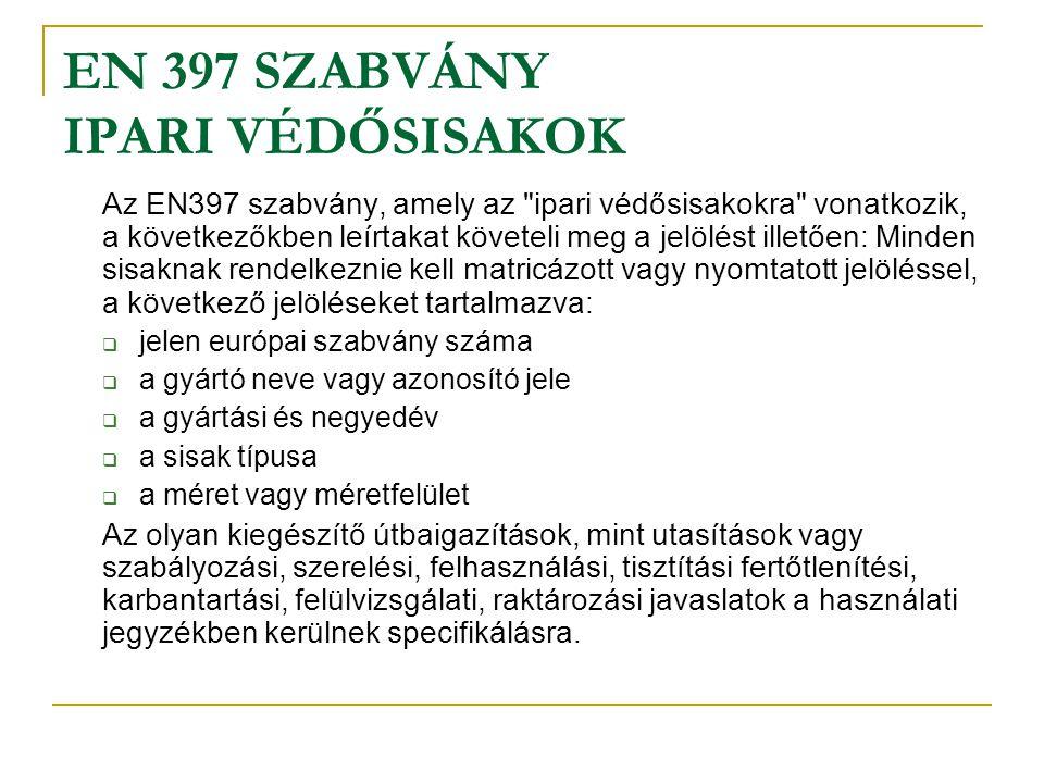 EN 397 SZABVÁNY IPARI VÉDŐSISAKOK