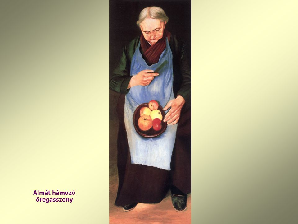 Almát hámozó öregasszony