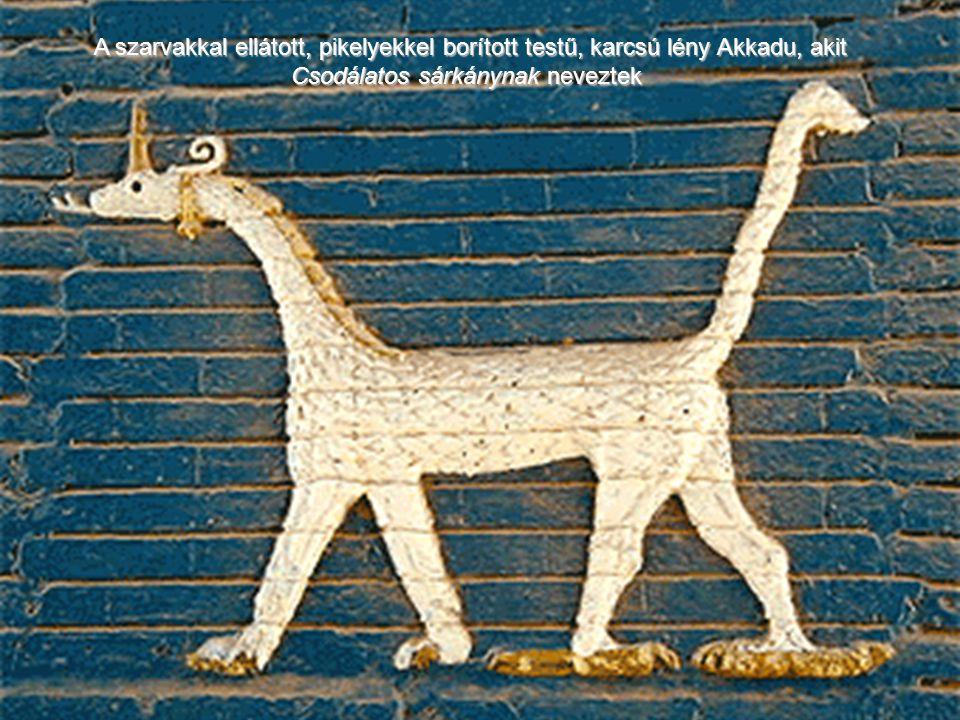 A szarvakkal ellátott, pikelyekkel borított testű, karcsú lény Akkadu, akit Csodálatos sárkánynak neveztek