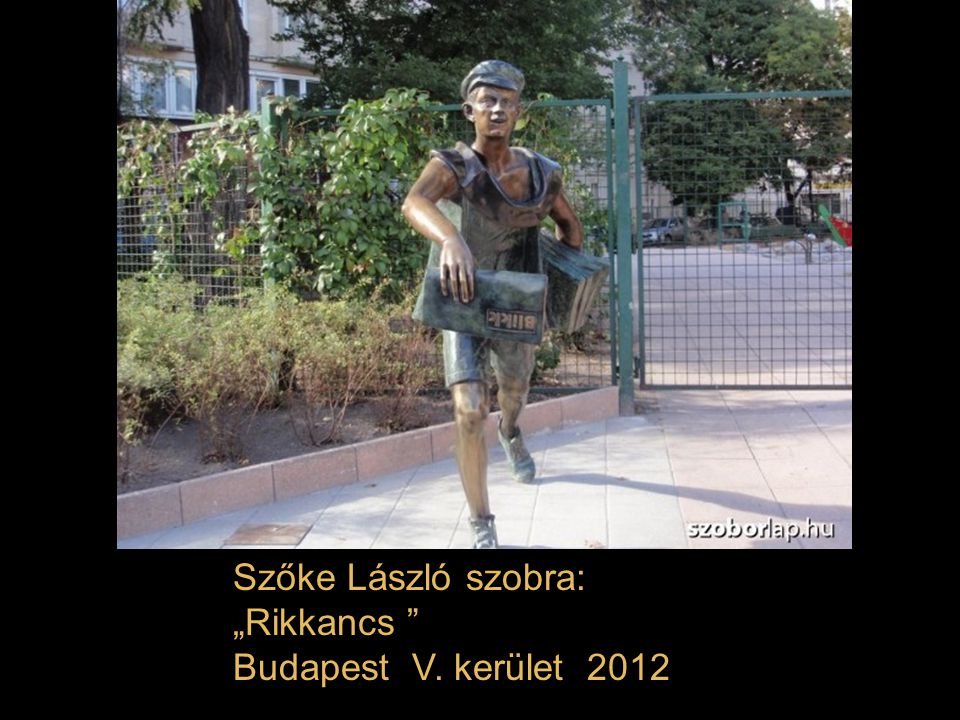 """Szőke László szobra: """"Rikkancs Budapest V. kerület 2012"""