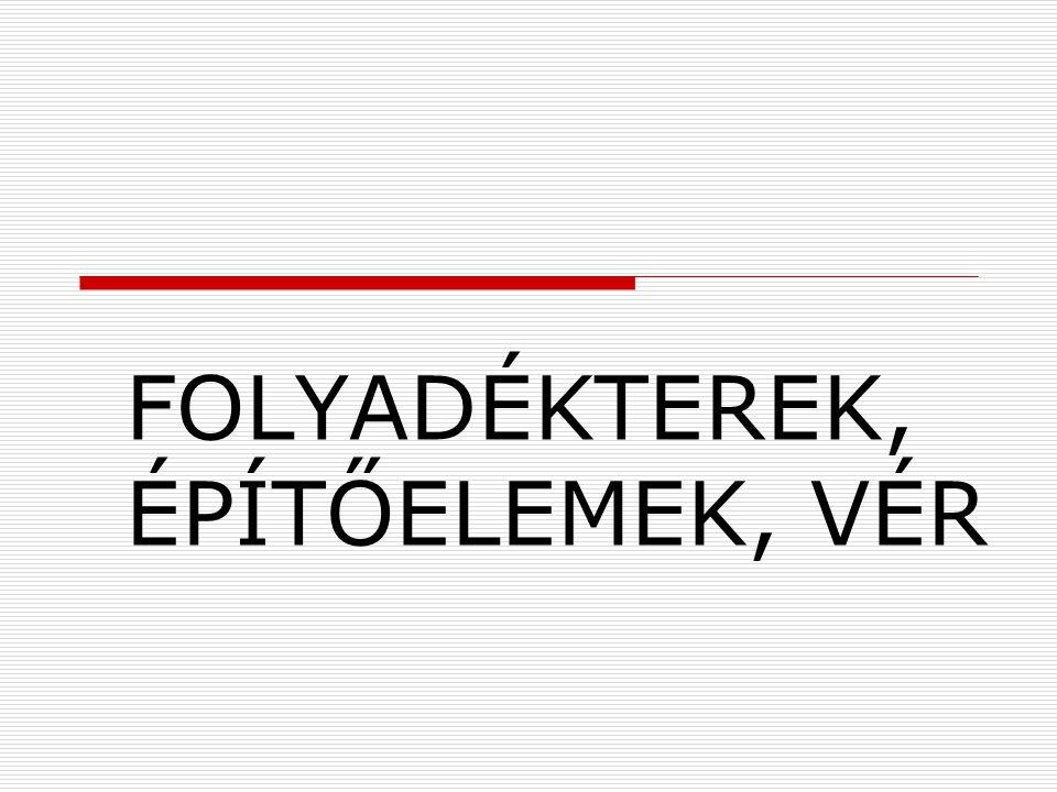 FOLYADÉKTEREK, ÉPÍTŐELEMEK, VÉR