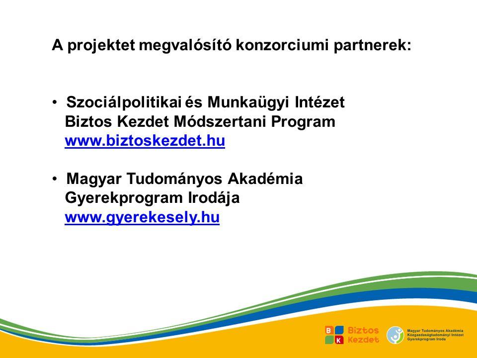 A projektet megvalósító konzorciumi partnerek: