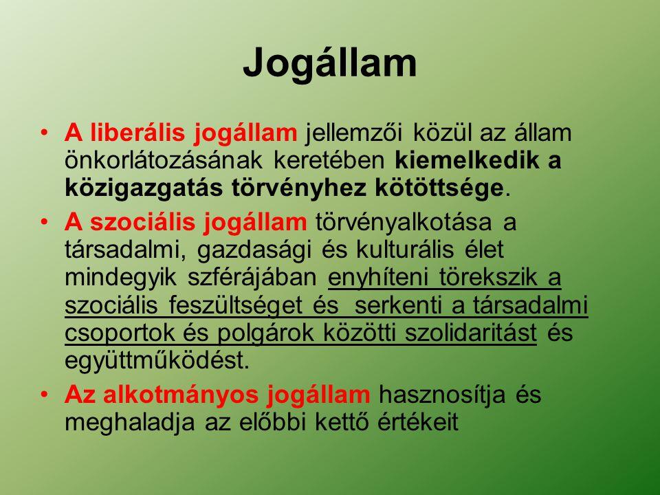 Jogállam A liberális jogállam jellemzői közül az állam önkorlátozásának keretében kiemelkedik a közigazgatás törvényhez kötöttsége.