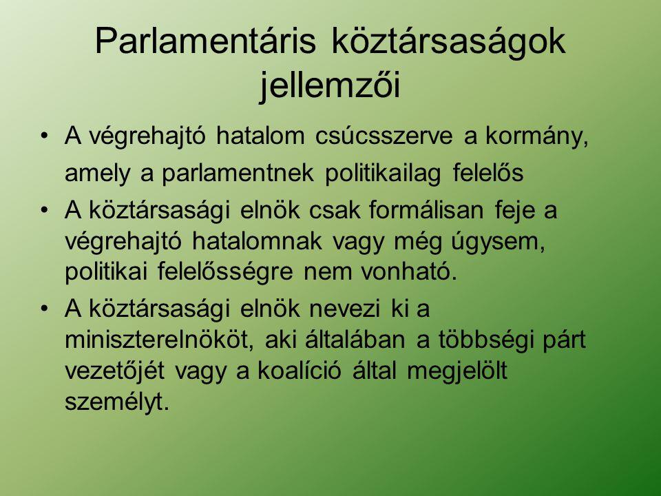 Parlamentáris köztársaságok jellemzői