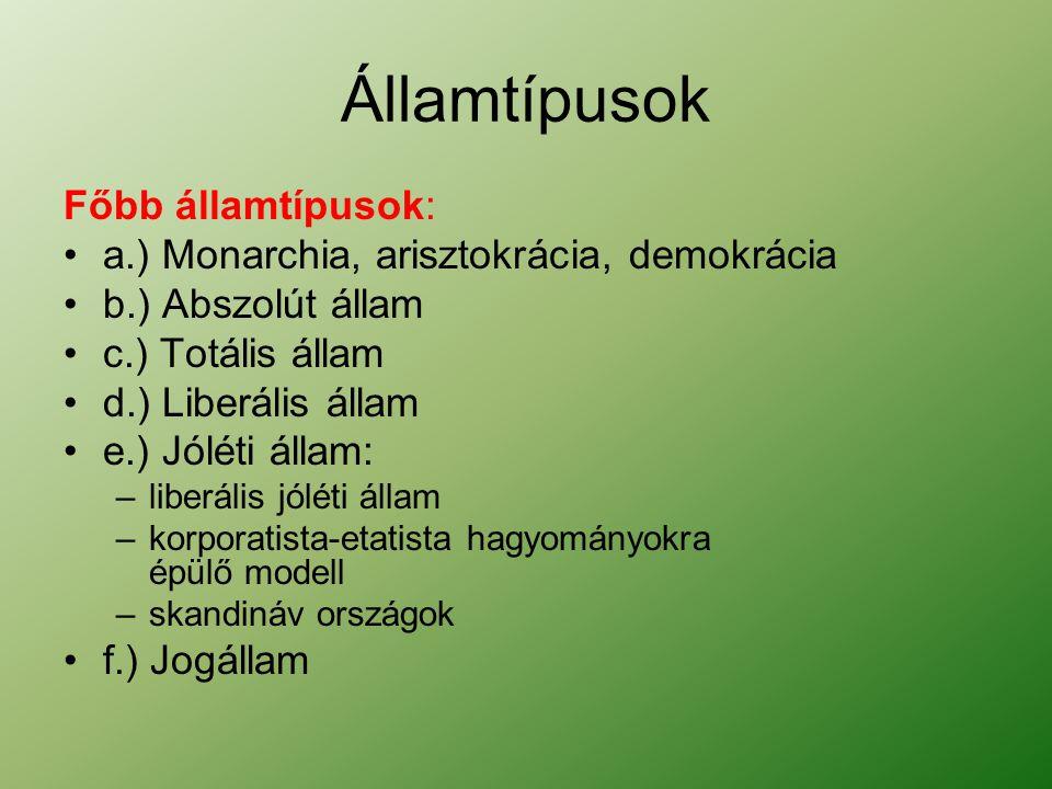 Államtípusok Főbb államtípusok: