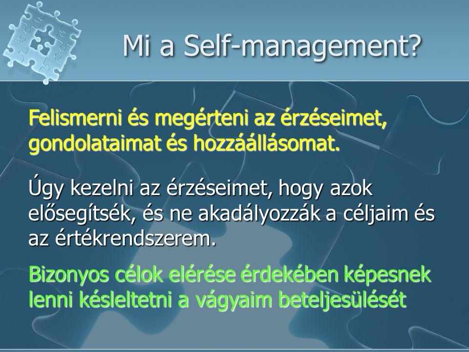 Mi a Self-management Felismerni és megérteni az érzéseimet, gondolataimat és hozzáállásomat.
