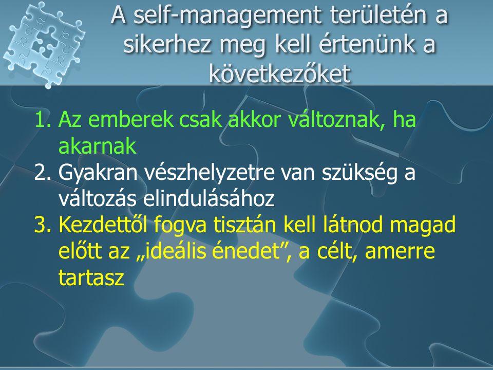 A self-management területén a sikerhez meg kell értenünk a következőket