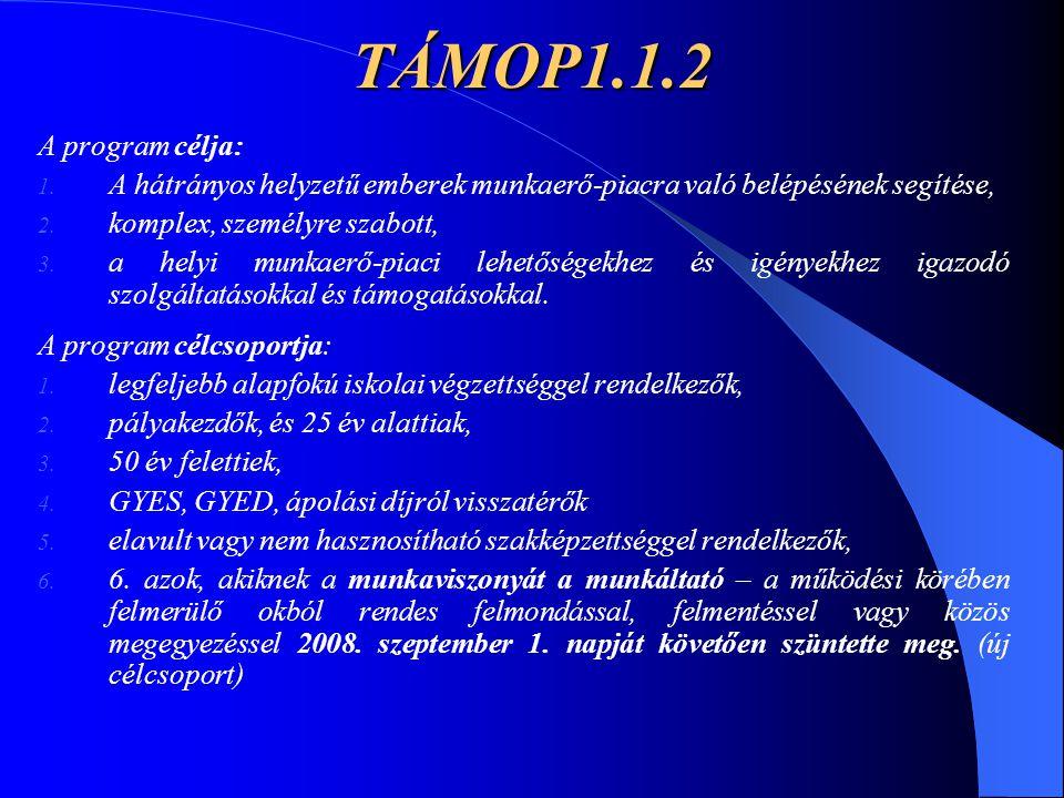TÁMOP1.1.2 A program célja: A hátrányos helyzetű emberek munkaerő-piacra való belépésének segítése,
