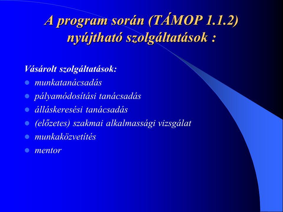 A program során (TÁMOP 1.1.2) nyújtható szolgáltatások :