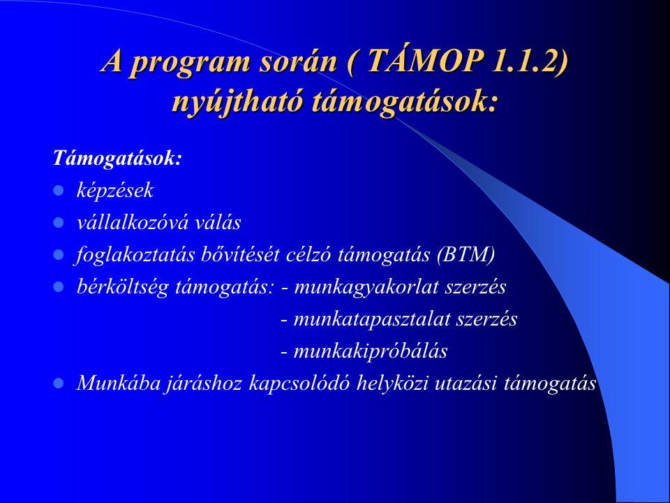 A program során ( TÁMOP 1.1.2) nyújtható támogatások: