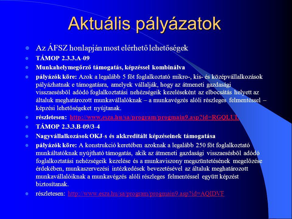 Aktuális pályázatok Az ÁFSZ honlapján most elérhető lehetőségek