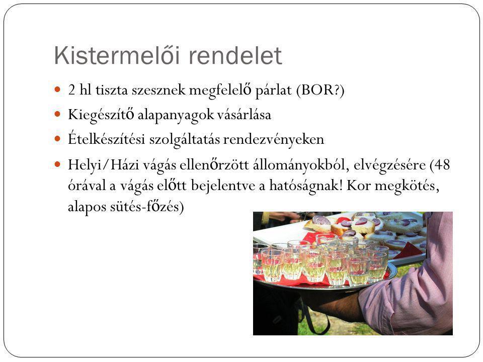 Kistermelői rendelet 2 hl tiszta szesznek megfelelő párlat (BOR )