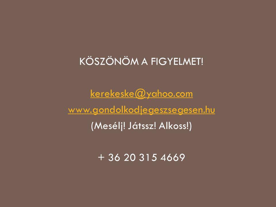 KÖSZÖNÖM A FIGYELMET. kerekeske@yahoo. com www. gondolkodjegeszsegesen