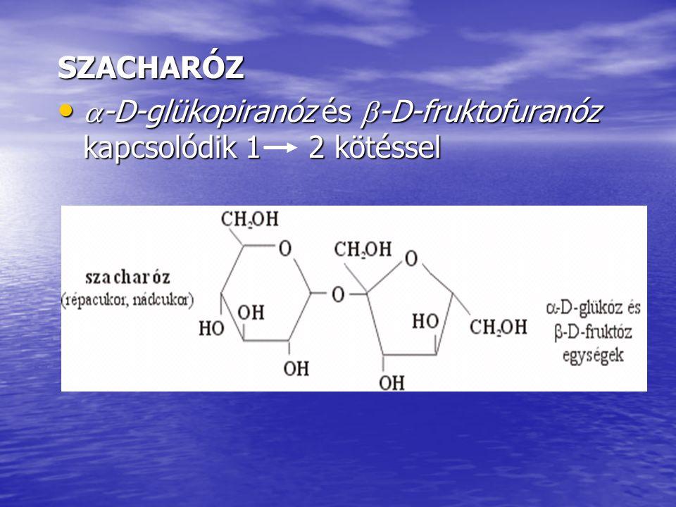 SZACHARÓZ -D-glükopiranóz és -D-fruktofuranóz kapcsolódik 1 2 kötéssel