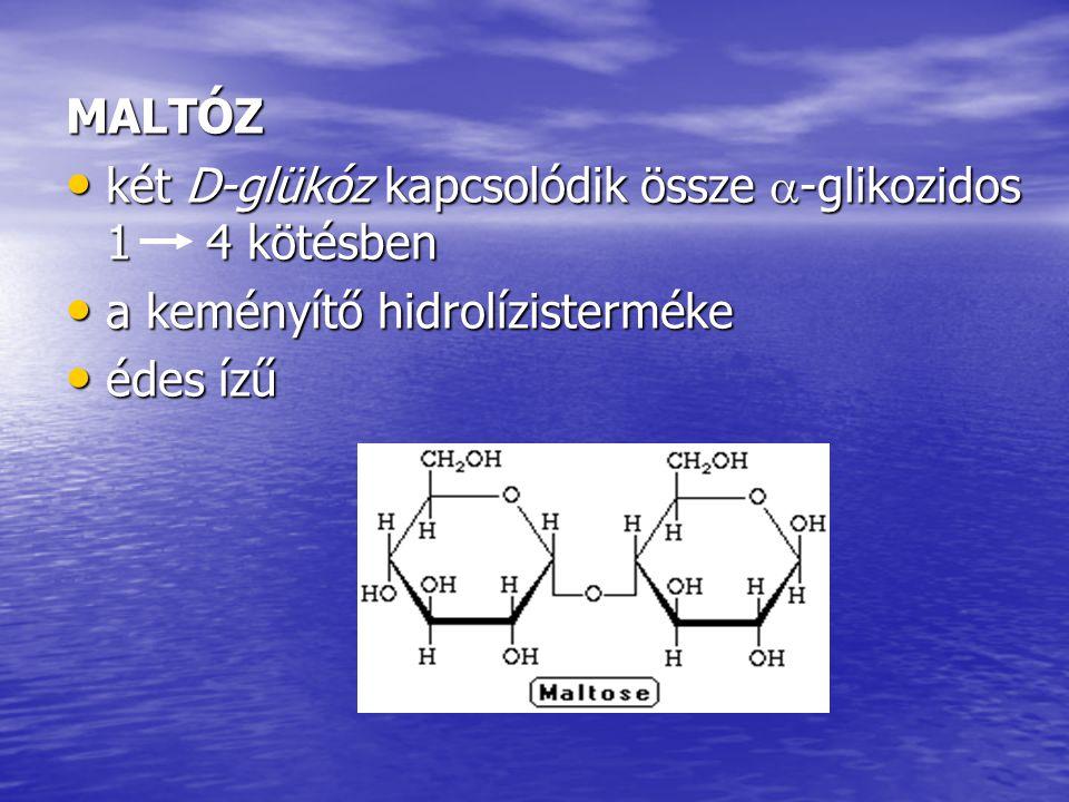 MALTÓZ két D-glükóz kapcsolódik össze -glikozidos 1 4 kötésben. a keményítő hidrolízisterméke.