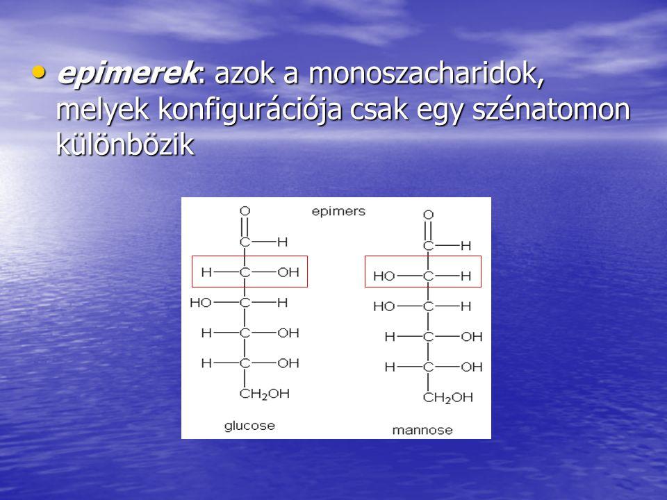 epimerek: azok a monoszacharidok, melyek konfigurációja csak egy szénatomon különbözik