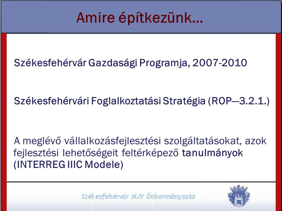 Amire építkezünk… Székesfehérvár Gazdasági Programja, 2007-2010