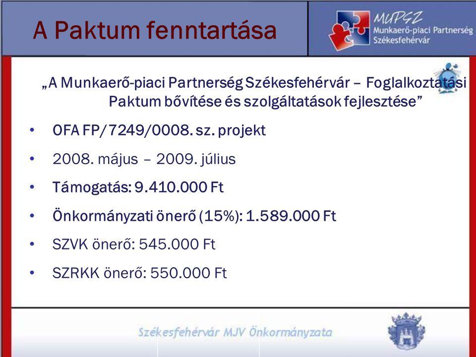 """A Paktum fenntartása """"A Munkaerő-piaci Partnerség Székesfehérvár – Foglalkoztatási Paktum bővítése és szolgáltatások fejlesztése"""
