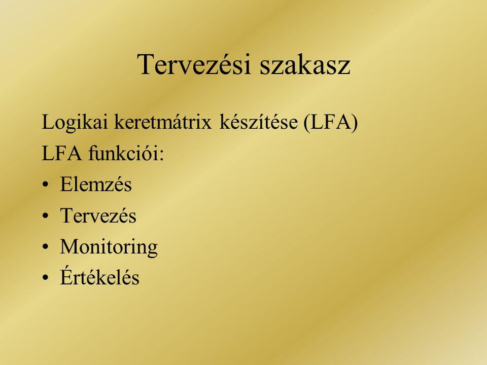 Tervezési szakasz Logikai keretmátrix készítése (LFA) LFA funkciói: