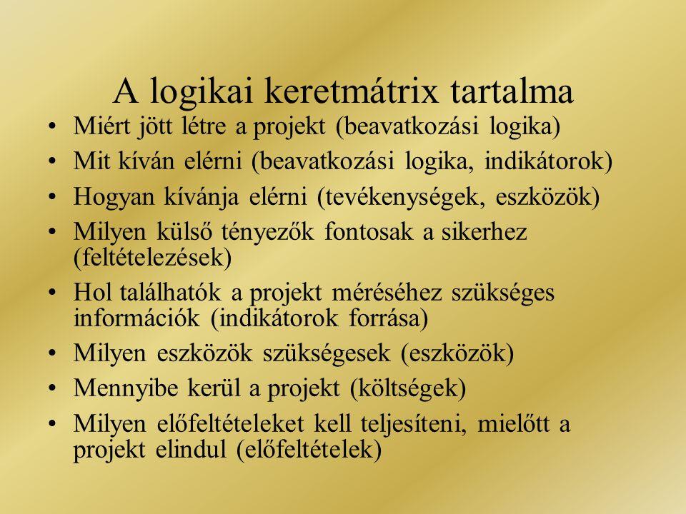 A logikai keretmátrix tartalma
