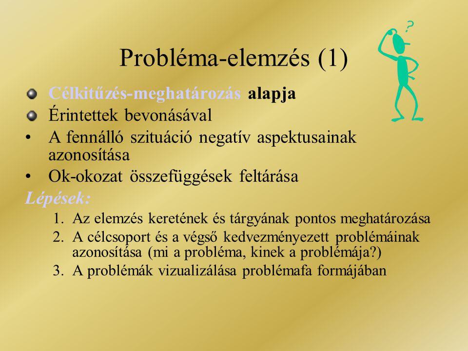 Probléma-elemzés (1) Célkitűzés-meghatározás alapja