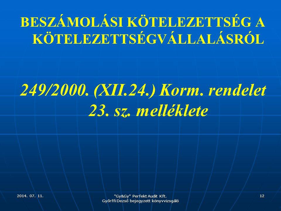 249/2000. (XII.24.) Korm. rendelet 23. sz. melléklete